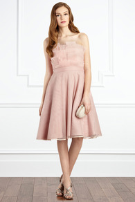 Henriette Dress - length: below the knee; neckline: strapless (straight/sweetheart); pattern: plain; style: prom dress; sleeve style: strapless; waist detail: fitted waist; predominant colour: blush; occasions: evening, occasion; fit: fitted at waist &amp; bust; fibres: polyester/polyamide - 100%; hip detail: structured pleats at hip; sleeve length: sleeveless; texture group: sheer fabrics/chiffon/organza etc.; bust detail: tiers/frills/bulky drapes/pleats; pattern type: fabric; pattern size: standard