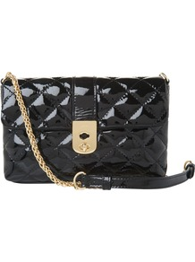 Kate Patent Across Body Handbag - predominant colour: black; occasions: casual, evening, work, occasion; style: shoulder; length: across body/long; size: standard; material: leather; embellishment: quilted, chain/metal; pattern: plain; finish: patent