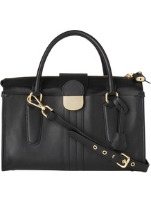 Lola Bowling Handbag, Black - predominant colour: black; occasions: casual, evening, work; type of pattern: standard; style: bowling; length: handle; size: standard; material: leather; embellishment: zips, chain/metal; pattern: plain; finish: plain