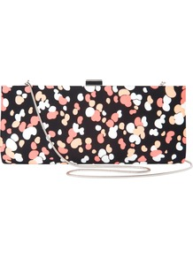 Bubble Print Clutch Handbag, Multi - occasions: evening, occasion; predominant colour: multicoloured; type of pattern: standard; style: clutch; length: hand carry; size: small; material: fabric; trends: statement prints, modern geometrics; finish: plain; pattern: patterned/print; embellishment: chain/metal