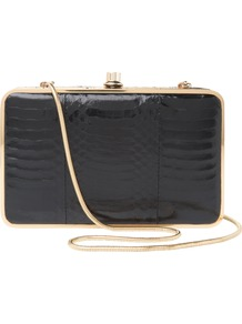 Yasmine Clutch Handbag - predominant colour: black; occasions: evening, occasion; type of pattern: standard; style: clutch; length: hand carry; size: small; material: leather; pattern: animal print, plain; finish: patent; embellishment: chain/metal