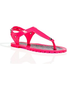 Neon Pink Rubber Studded Thongs - predominant colour: hot pink; occasions: casual, holiday; material: plastic/rubber; heel height: flat; embellishment: studs; ankle detail: ankle strap; heel: standard; toe: toe thongs; style: flip flops / toe post; trends: fluorescent; finish: fluorescent; pattern: plain