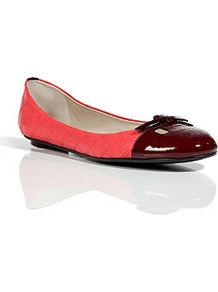Aubergine/Pink Patent Leather/Quilted Leather Flats - predominant colour: coral; occasions: casual, work; material: leather; heel height: flat; embellishment: quilted, bow, toe cap; toe: round toe; style: ballerinas / pumps; finish: patent; pattern: plain, two-tone, colourblock