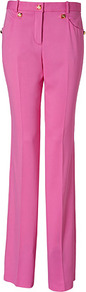 Pink Wide Leg Pants With Medusa Hardware - pattern: plain; waist: high rise; pocket detail: pockets at the sides; length: extra long; occasions: casual, evening, occasion; fibres: viscose/rayon - stretch; texture group: crepes; fit: wide leg; pattern type: fabric; style: standard; predominant colour: dusky pink; embellishment: studs