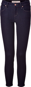 Dark Blue Rinse Cropped Jeans - style: skinny leg; pattern: plain; pocket detail: traditional 5 pocket; waist: mid/regular rise; predominant colour: navy; occasions: casual; length: ankle length; fibres: cotton - stretch; jeans detail: dark wash; texture group: denim; pattern type: fabric; pattern size: standard
