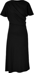Black Draped Side Short Sleeve Cotton Dress - style: shift; length: calf length; pattern: plain; fit: bias; sleeve style: asymmetric sleeve; neckline: asymmetric; predominant colour: black; occasions: casual, evening, work; fibres: cotton - 100%; sleeve length: short sleeve; texture group: cotton feel fabrics; pattern type: fabric