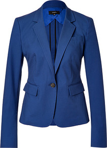 Royal Blue Cotton Blazer - pattern: plain; style: single breasted blazer; collar: standard lapel/rever collar; predominant colour: royal blue; occasions: evening, work, occasion; length: standard; fit: tailored/fitted; fibres: cotton - stretch; sleeve length: long sleeve; sleeve style: standard; texture group: cotton feel fabrics; collar break: low/open; pattern type: fabric