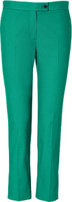 Emerald Cotton Ankle Pants - pattern: plain; waist detail: fitted waist, narrow waistband; pocket detail: small back pockets, pockets at the sides; waist: mid/regular rise; predominant colour: emerald green; occasions: casual, evening, work, occasion; length: ankle length; fibres: cotton - stretch; hip detail: fitted at hip (bottoms); texture group: cotton feel fabrics; fit: straight leg; pattern type: fabric; style: standard