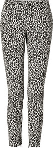 Beige/Black Spotted Ankle Pants - waist detail: fitted waist, narrow waistband; pocket detail: small back pockets; hip detail: front pockets at hip, fitted at hip (bottoms); waist: mid/regular rise; predominant colour: stone; occasions: casual, evening, work; length: ankle length; fibres: cotton - mix; texture group: cotton feel fabrics; trends: statement prints; fit: slim leg; pattern type: fabric; pattern size: small & busy; pattern: animal print, patterned/print; style: standard