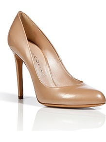 Pearly Nude Patent Leather Pumps - predominant colour: nude; occasions: evening, work, occasion; material: leather; heel height: high; heel: stiletto; toe: pointed toe; style: courts; finish: patent; pattern: plain