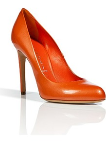 Pearly Melon Patent Leather Pumps - predominant colour: bright orange; occasions: evening, work, occasion; material: leather; heel height: high; heel: stiletto; toe: pointed toe; style: courts; finish: patent; pattern: plain