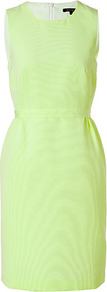 Citron Sheath Dress - style: shift; neckline: round neck; fit: tailored/fitted; pattern: plain; sleeve style: sleeveless; waist detail: fitted waist, narrow waistband; predominant colour: lime; occasions: casual, evening, occasion, holiday; length: just above the knee; fibres: polyester/polyamide - mix; hip detail: sculpting darts/pleats/seams at hip; sleeve length: sleeveless; trends: glamorous day shifts, fluorescent; pattern type: fabric; pattern size: standard; texture group: other - light to midweight