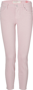 Fantasia Pink Lola Crop Skinny Jeans - style: skinny leg; pattern: plain; pocket detail: traditional 5 pocket; waist: mid/regular rise; predominant colour: blush; occasions: casual; length: ankle length; fibres: cotton - stretch; texture group: denim; pattern type: fabric