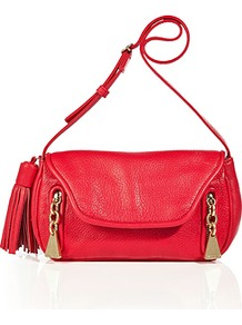 Lipstick Textured Leather Tasseled Shoulder Bag - predominant colour: true red; occasions: casual, evening, work, holiday; style: shoulder; length: shoulder (tucks under arm); size: small; material: leather; embellishment: tassels, zips, chain/metal; pattern: plain; finish: plain