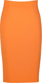 Calendula Pencil Skirt - pattern: plain; style: pencil; fit: tailored/fitted; waist detail: fitted waist, structured pleats at waist; waist: high rise; hip detail: fitted at hip; predominant colour: bright orange; occasions: casual, evening, work, occasion; length: on the knee; fibres: viscose/rayon - stretch; texture group: crepes; trends: fluorescent; pattern type: fabric; pattern size: standard
