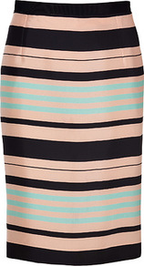 Mint/Peach/Black Silk Skirt - pattern: horizontal stripes; style: pencil; fit: tailored/fitted; waist: high rise; secondary colour: blush; occasions: evening, work, occasion; length: on the knee; fibres: silk - 100%; predominant colour: multicoloured; texture group: structured shiny - satin/tafetta/silk etc.; trends: striking stripes; pattern type: fabric; pattern size: standard