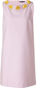 Lilac/Yellow Embellished Dress - style: shift; neckline: round neck; sleeve style: sleeveless; bust detail: added detail/embellishment at bust; predominant colour: lilac; occasions: casual, evening, work, occasion, holiday; length: just above the knee; fit: soft a-line; fibres: polyester/polyamide - mix; sleeve length: sleeveless; texture group: crepes; trends: glamorous day shifts; pattern type: fabric; pattern size: small &amp; light; embellishment: beading