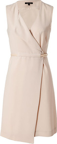 Sand Wrap Dress - style: faux wrap/wrap; neckline: low v-neck; fit: tailored/fitted; pattern: plain; sleeve style: sleeveless; waist detail: fitted waist, belted waist/tie at waist/drawstring; predominant colour: stone; occasions: casual, work, occasion, holiday; length: just above the knee; fibres: polyester/polyamide - mix; sleeve length: sleeveless; texture group: crepes; trends: glamorous day shifts; pattern type: fabric