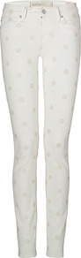Bright White Dot Lou Skinny Jeans - style: skinny leg; length: standard; pattern: polka dot; pocket detail: traditional 5 pocket; waist: mid/regular rise; predominant colour: white; secondary colour: ivory; occasions: casual, evening; fibres: cotton - stretch; texture group: denim; pattern type: fabric; pattern size: standard