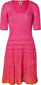 Hot Pink Cotton Blend Knit Dress - neckline: round neck; pattern: plain; predominant colour: pink; secondary colour: bright orange; occasions: casual, holiday; length: just above the knee; fit: fitted at waist &amp; bust; style: fit &amp; flare; hip detail: soft pleats at hip/draping at hip/flared at hip; sleeve length: short sleeve; sleeve style: standard; texture group: knits/crochet; trends: fluorescent; pattern type: knitted - other; pattern size: standard; fibres: viscose/rayon - mix