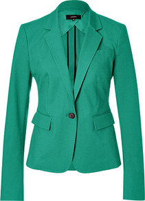 Emerald Cotton Blazer - pattern: plain; style: single breasted blazer; collar: standard lapel/rever collar; predominant colour: emerald green; occasions: evening, work, occasion; length: standard; fit: tailored/fitted; fibres: cotton - stretch; sleeve length: long sleeve; sleeve style: standard; texture group: structured shiny - satin/tafetta/silk etc.; collar break: medium; pattern type: fabric