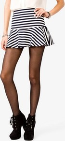 Flounced Striped Skirt - length: mini; pattern: horizontal stripes, striped; fit: loose/voluminous; waist detail: fitted waist, wide waistband/cummerbund; hip detail: fitted at hip, soft pleats at hip/draping at hip/flared at hip, ruffles/tiers/tie detail at hip; waist: mid/regular rise; predominant colour: navy; occasions: casual, evening; style: mini skirt; fibres: cotton - mix; trends: striking stripes, volume; pattern type: fabric; pattern size: small & busy; texture group: jersey - stretchy/drapey