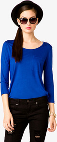 Relaxed Patch Pocket T Shirt - neckline: round neck; pattern: plain; style: t-shirt; bust detail: pocket detail at bust; predominant colour: royal blue; occasions: casual; length: standard; fibres: polyester/polyamide - 100%; fit: loose; sleeve length: 3/4 length; sleeve style: standard; pattern type: fabric; texture group: jersey - stretchy/drapey