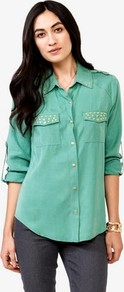 Studded Trim Shirt - neckline: shirt collar/peter pan/zip with opening; pattern: plain; bust detail: added detail/embellishment at bust; style: shirt; predominant colour: mint green; secondary colour: mint green; occasions: casual; length: standard; fibres: viscose/rayon - 100%; fit: body skimming; sleeve length: 3/4 length; sleeve style: standard; texture group: denim; pattern type: fabric; embellishment: studs