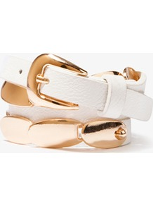 Linked Metal Hip Belt - predominant colour: white; secondary colour: gold; occasions: casual, evening, work, holiday; type of pattern: standard; style: classic; size: skinny; worn on: waist; material: faux leather; pattern: plain; finish: plain; embellishment: chain/metal