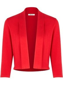 Poppy Fold Collar Shrug - pattern: plain; neckline: shawl; style: bolero/shrug; length: cropped; predominant colour: true red; occasions: evening, work, occasion; fit: standard fit; sleeve length: 3/4 length; sleeve style: standard; texture group: knits/crochet; pattern type: knitted - fine stitch; fibres: viscose/rayon - mix