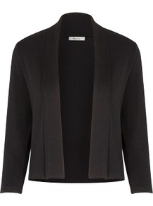 Black Fold Collar Shrug - pattern: plain; neckline: shawl; style: bolero/shrug; length: cropped; predominant colour: black; occasions: evening, occasion; fit: standard fit; sleeve length: 3/4 length; sleeve style: standard; texture group: knits/crochet; pattern type: knitted - fine stitch; fibres: viscose/rayon - mix