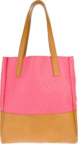 Embossed Shopper - predominant colour: pink; occasions: casual, work; type of pattern: standard; style: tote; length: handle; size: standard; material: leather; finish: plain; pattern: patterned/print, colourblock