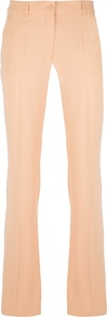 Straight Leg Trouser - pattern: plain; length: extra long; waist: mid/regular rise; predominant colour: nude; occasions: evening, occasion; texture group: crepes; fit: straight leg; pattern type: fabric; style: standard; fibres: viscose/rayon - mix