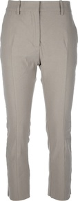 &#x27;Pop&#x27; Stretch Cropped Trouser - pattern: plain; waist: mid/regular rise; predominant colour: stone; occasions: casual, holiday; length: calf length; texture group: linen; fit: slim leg; pattern type: fabric; style: standard; fibres: linen - stretch