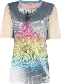 Graphic Chandalier T Shirt - style: t-shirt; secondary colour: stone; predominant colour: mid grey; occasions: casual; length: standard; fibres: cotton - 100%; fit: body skimming; neckline: crew; sleeve length: short sleeve; sleeve style: standard; texture group: cotton feel fabrics; pattern type: fabric; pattern size: big &amp; busy; pattern: patterned/print