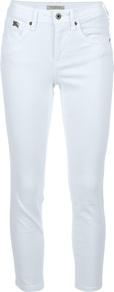 Skinny Fit Cropped Trouser - style: skinny leg; pattern: plain; pocket detail: traditional 5 pocket; waist: mid/regular rise; predominant colour: white; occasions: casual, evening, holiday; length: calf length; fibres: cotton - stretch; texture group: denim; pattern type: fabric