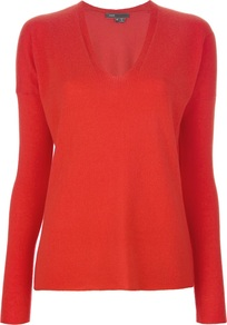 V Neck Sweater - neckline: v-neck; pattern: plain; style: standard; predominant colour: bright orange; occasions: casual; length: standard; fit: loose; fibres: cashmere - 100%; sleeve length: long sleeve; sleeve style: standard; texture group: knits/crochet; pattern type: knitted - fine stitch
