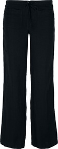 Beach Trousers - length: standard; pattern: plain; waist: mid/regular rise; predominant colour: black; occasions: casual, evening, holiday; fibres: linen - 100%; texture group: linen; fit: wide leg; pattern type: fabric; style: standard