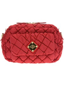 Quilted Shoulder Bag - predominant colour: true red; occasions: casual, evening, work, occasion; type of pattern: standard; style: shoulder; length: shoulder (tucks under arm); size: small; material: fabric; embellishment: quilted, chain/metal; pattern: plain; finish: plain