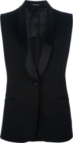Sleeveless Blazer - pattern: plain; sleeve style: sleeveless; style: single breasted tuxedo; collar: shawl/waterfall; length: below the bottom; predominant colour: black; occasions: evening, work; fit: tailored/fitted; fibres: viscose/rayon - 100%; sleeve length: sleeveless; trends: tuxedo; collar break: low/open; pattern type: fabric; texture group: woven light midweight