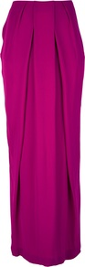 Pleated Maxi Skirt - pattern: plain; fit: loose/voluminous; waist: high rise; waist detail: structured pleats at waist; predominant colour: hot pink; occasions: casual, evening, occasion; length: floor length; style: maxi skirt; hip detail: soft pleats at hip/draping at hip/flared at hip; texture group: crepes; pattern type: fabric; fibres: viscose/rayon - mix
