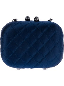 Quilted Effect Box Clutch - predominant colour: navy; occasions: evening, occasion; type of pattern: light; style: clutch; length: hand carry; size: small; material: satin; embellishment: crystals, quilted, chain/metal; pattern: plain; finish: plain