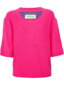 'Alluni' Top - pattern: plain; back detail: contrast pattern/fabric at back; predominant colour: hot pink; secondary colour: purple; occasions: casual, evening; length: standard; style: top; fibres: silk - mix; fit: straight cut; neckline: crew; sleeve length: 3/4 length; sleeve style: standard; texture group: knits/crochet; pattern type: knitted - other; pattern size: small & busy