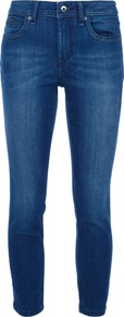 Skinny Fit Cropped Jean - style: skinny leg; pattern: plain; pocket detail: traditional 5 pocket; waist: mid/regular rise; predominant colour: indigo; occasions: casual; length: ankle length; fibres: cotton - stretch; jeans detail: whiskering, shading down centre of thigh; texture group: denim; pattern type: fabric