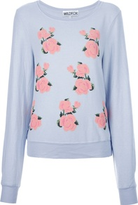 Rose Print Sweatshirt - neckline: round neck; style: sweat top; secondary colour: pink; predominant colour: pale blue; occasions: casual; length: standard; fibres: polyester/polyamide - stretch; fit: loose; sleeve length: long sleeve; sleeve style: standard; pattern type: fabric; pattern size: standard; pattern: florals; texture group: jersey - stretchy/drapey