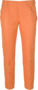 Tapered Capri Trouser - pattern: plain; style: capri; waist detail: fitted waist, narrow waistband; pocket detail: pockets at the sides; waist: mid/regular rise; predominant colour: bright orange; occasions: casual, evening, work; length: ankle length; fibres: cotton - mix; texture group: cotton feel fabrics; trends: fluorescent; fit: tapered; pattern type: fabric