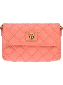 'The Single' Bag - predominant colour: coral; occasions: casual, evening, work, occasion, holiday; style: shoulder; length: across body/long; size: small; material: leather; embellishment: quilted, chain/metal; pattern: plain; finish: plain