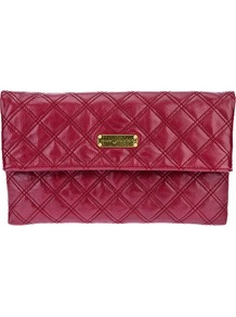 'Large Eugenie' Clutch - predominant colour: burgundy; occasions: casual, evening, occasion; style: clutch; length: hand carry; size: standard; material: leather; embellishment: quilted; pattern: plain; finish: patent