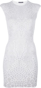 Metallic Jacquard Knit Dress - length: mini; sleeve style: capped; fit: tight; style: bodycon; waist detail: fitted waist; hip detail: fitted at hip; secondary colour: white; predominant colour: light grey; occasions: evening, occasion; fibres: polyester/polyamide - stretch; neckline: crew; sleeve length: short sleeve; texture group: jersey - clingy; trends: metallics; pattern type: fabric; pattern size: small & busy; pattern: animal print