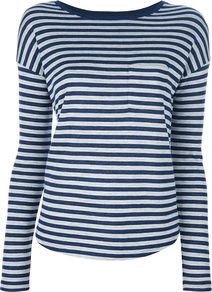 Striped T Shirt - neckline: slash/boat neckline; pattern: horizontal stripes; style: t-shirt; secondary colour: white; predominant colour: royal blue; occasions: casual, holiday; length: standard; fit: body skimming; sleeve length: long sleeve; sleeve style: standard; pattern type: fabric; pattern size: standard; texture group: jersey - stretchy/drapey; fibres: viscose/rayon - mix